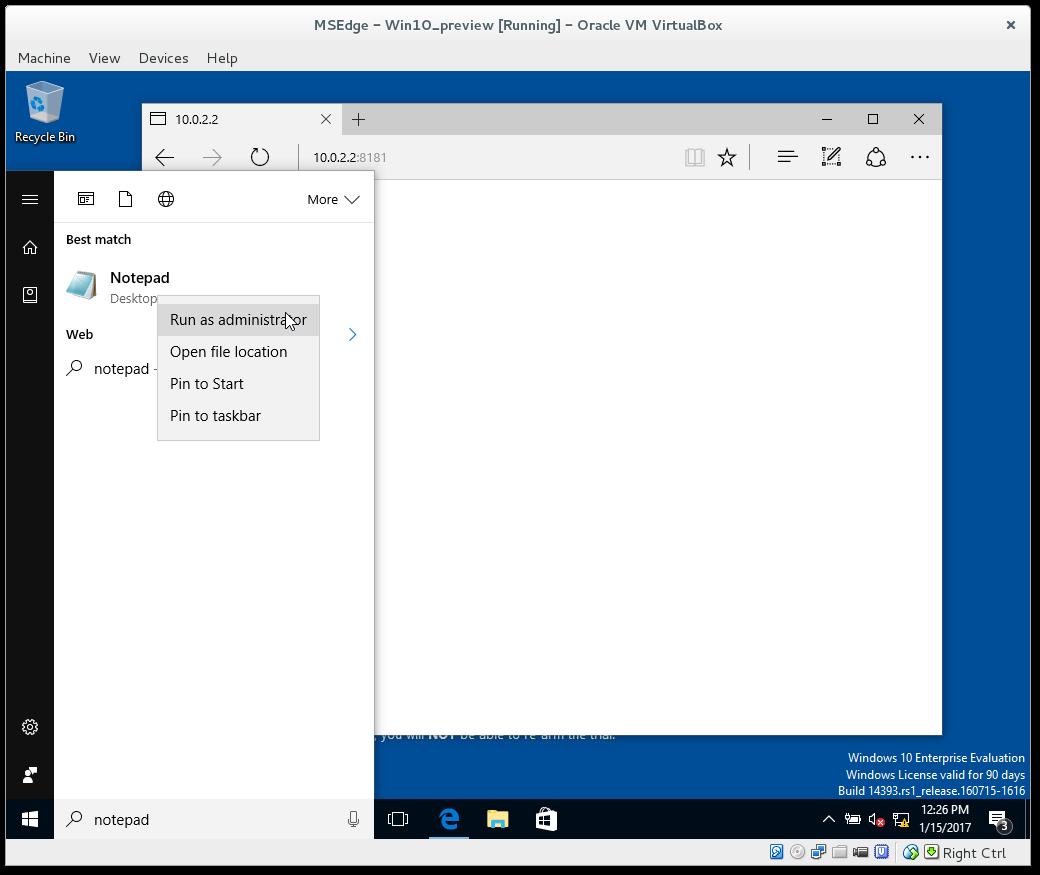 Configure host in Windows VirtualBox to reach local webserver
