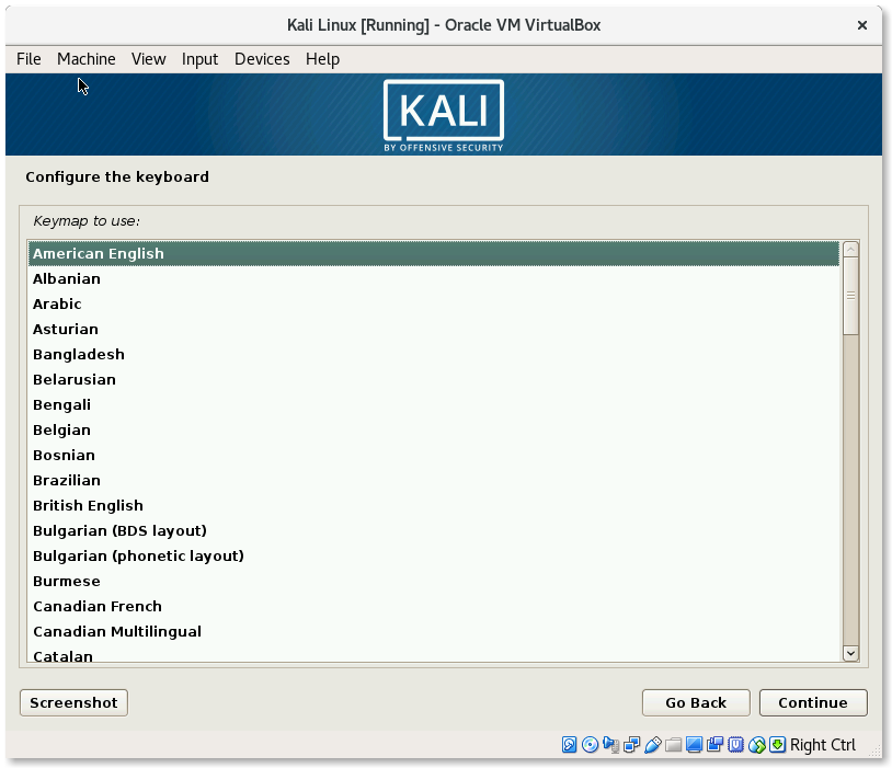 VirtualBox Kali Linux Install Configure the keyboard