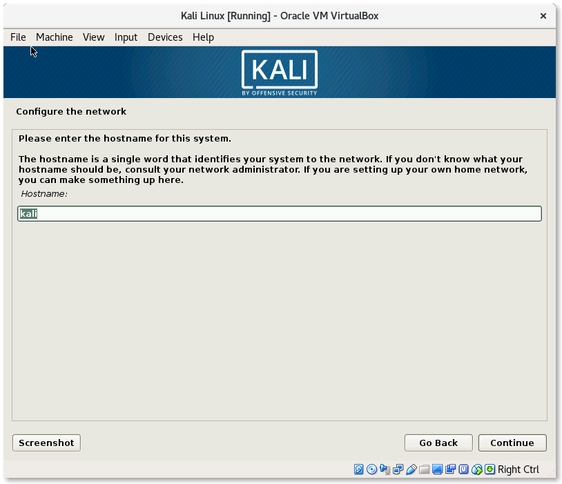 VirtualBox Kali Linux Install Configure the network hostname
