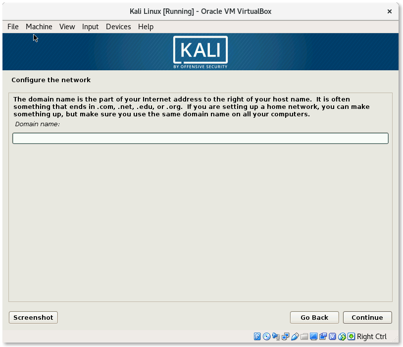 VirtualBox Kali Linux Install Configure the network domain