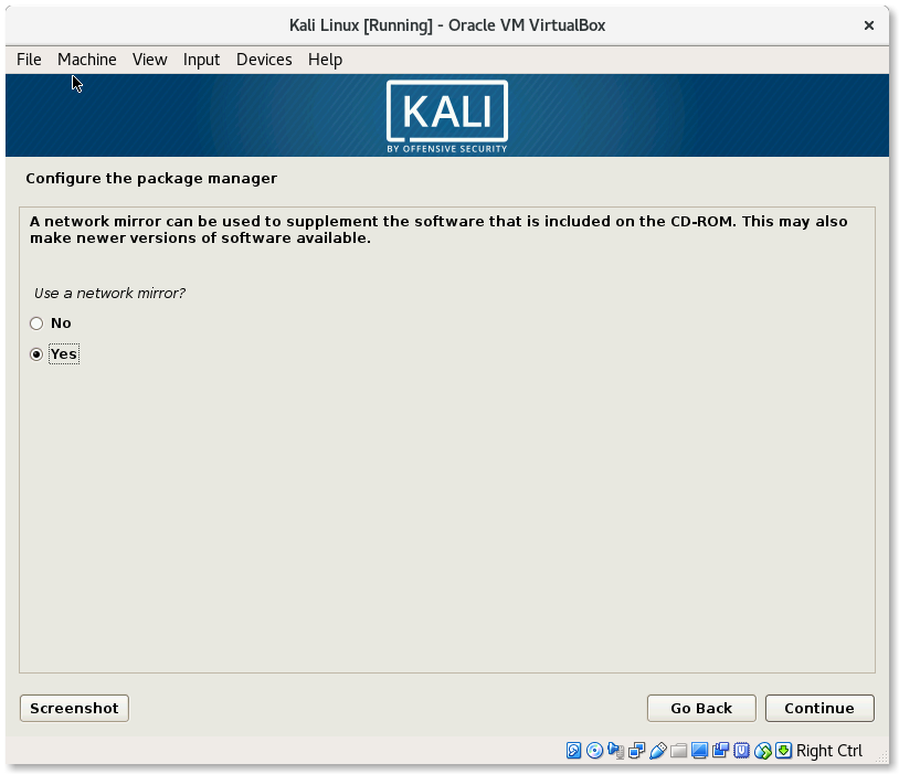 VirtualBox Kali Linux Install Configure the package manager