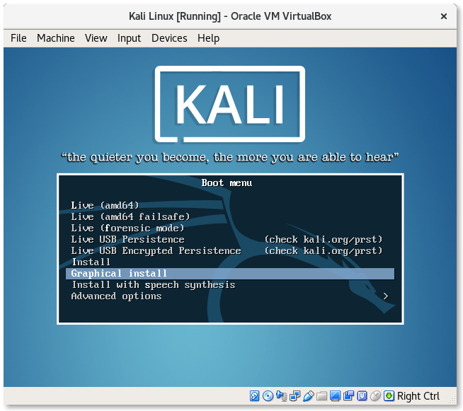 VirtualBox Kali Linux Graphical install