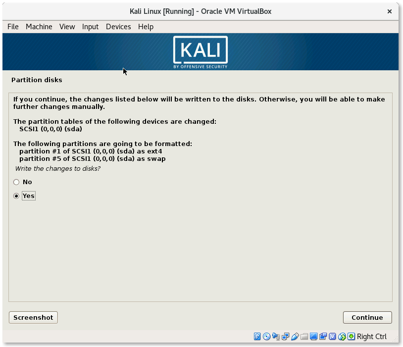 VirtualBox Kali Linux Install write Partition confirmation