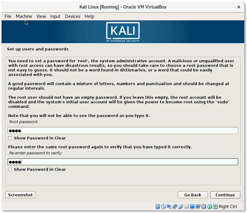 VirtualBox Kali Linux Install Setup users and passwords