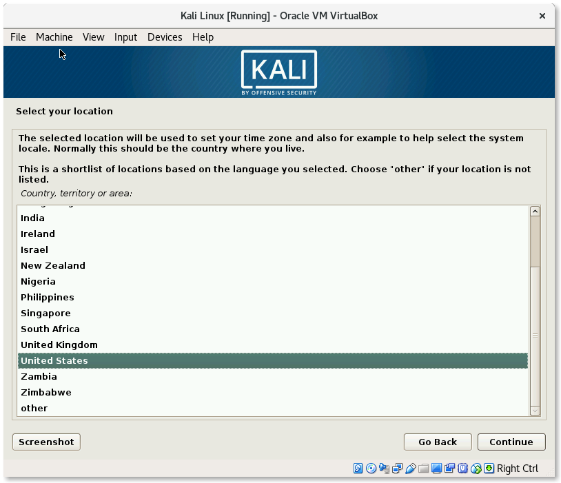 VirtualBox Kali Linux Install Select your location