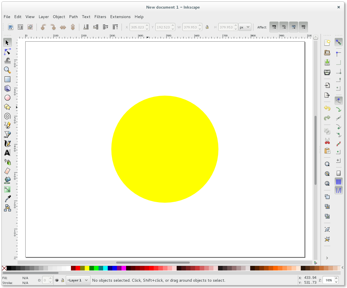 Inkscape yellow circle