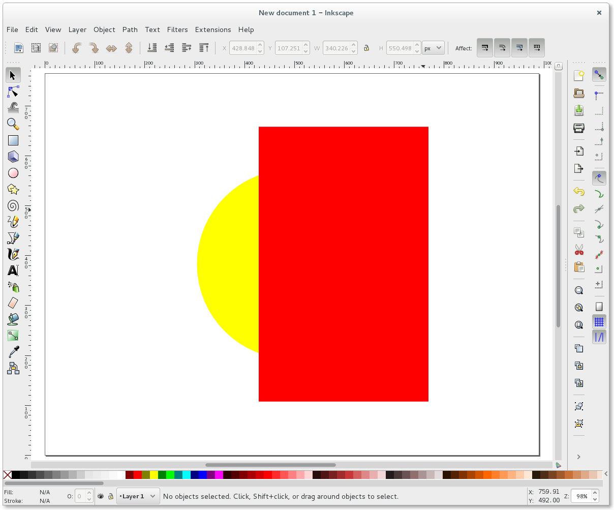 Inkscape yellow circle and red rectangle
