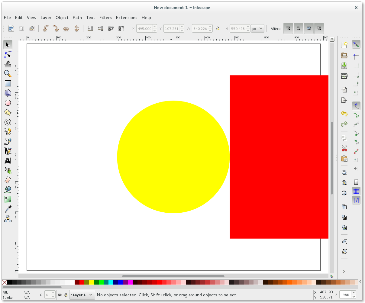 Inkscape align yellow circle and red rectangle