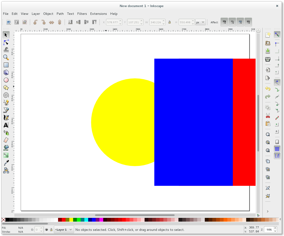 Inkscape yellow circle and red and blue rectangle