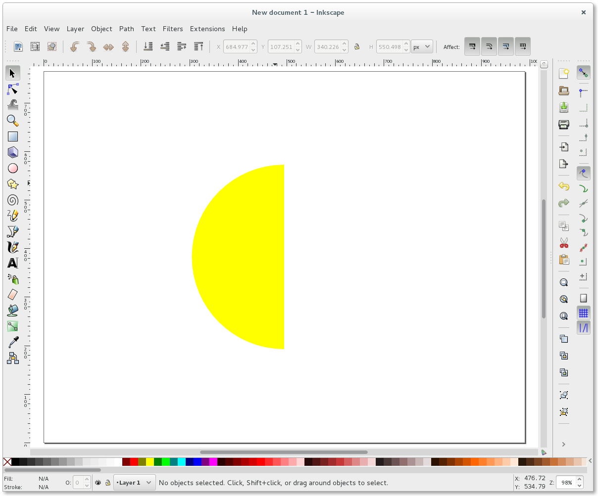 Inkscape Difference yellow circle blue rectangle